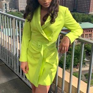 Neon Green Blazer Dress